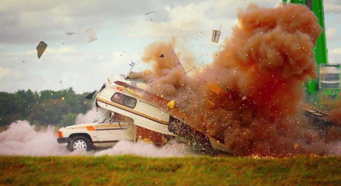 A caravan exploded when it was hit from above by the falling cars
