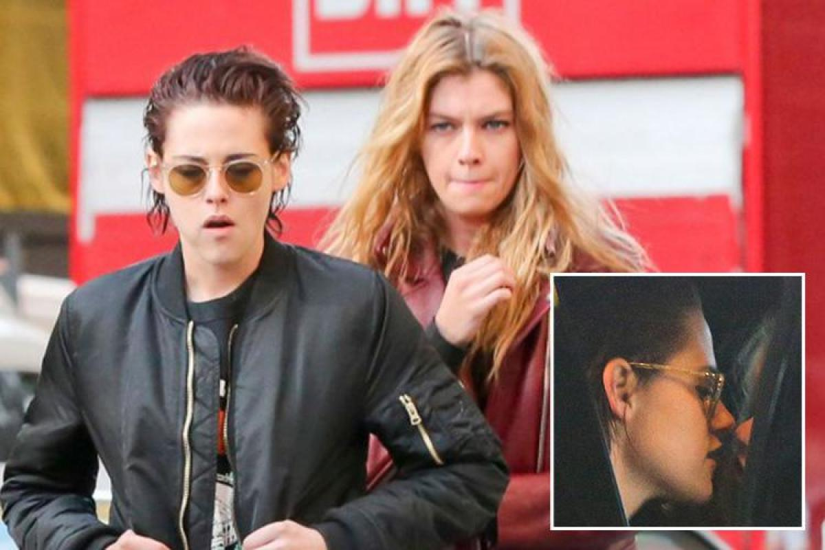 Stella Maxwell and Kristen Stewart appear to confirm their romance as  they're spotted kissing in the back of a car