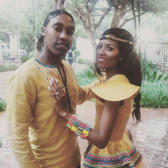 Caster Semenya and her wife Violet Raseboya changed into traditional outfits for a dance at their wedding reception