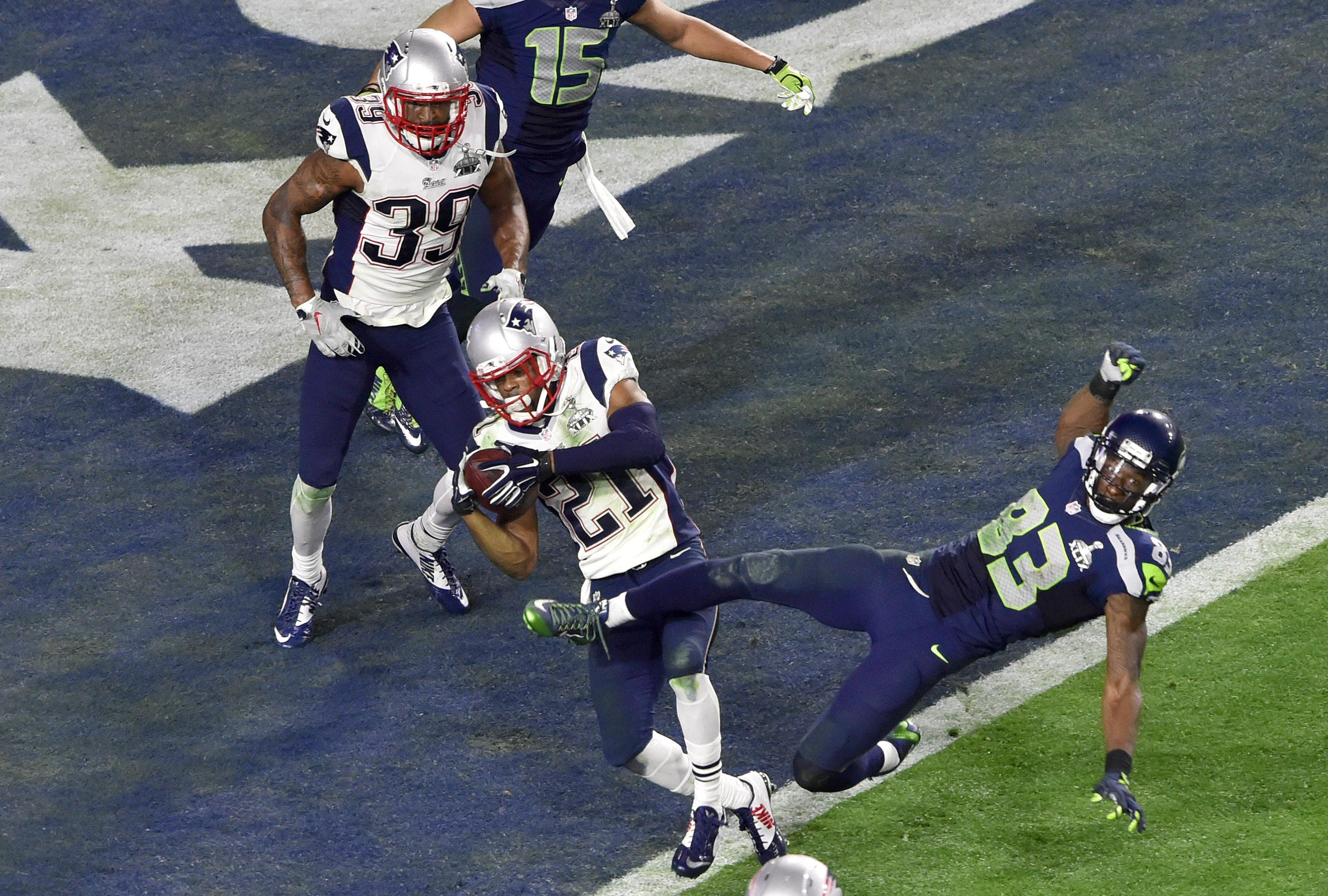 Malcolm Butler makes an interception at the goal line to win the Super Bowl for the Patriots