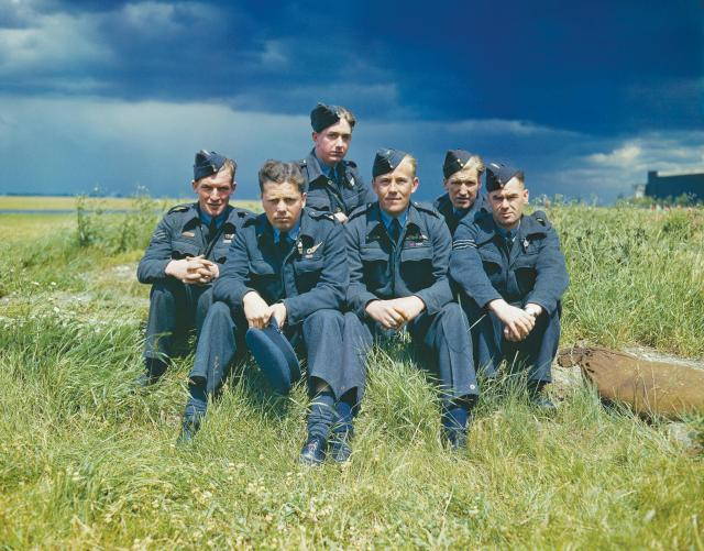 Johnson, far left, in picture taken on July 22, 1943, just 35 days after 53 of their RAF colleagues were killed