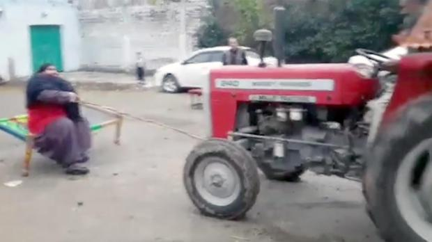 He is capable of stopping tractors by holding them back with a rope