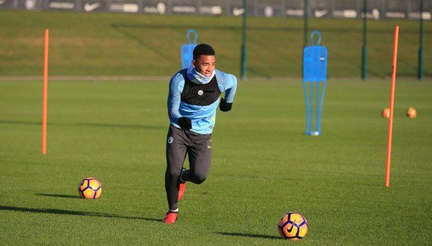 Gabriel Jesus trains ahead of Manchester City's clash against Tottenham on Saturday