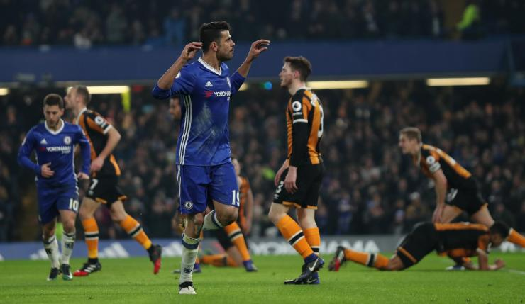 Diego Costa celebrated his opener for Chelsea against Hull with 'hand' celebration