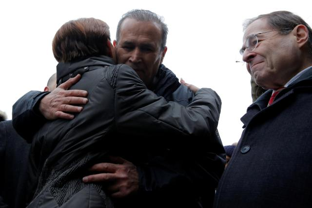 Darwish embraces Congresswoman Nydia Velazquez after he was released today