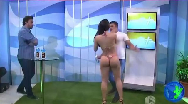 The internet famous model lashes out at the presenter with a slap around the face