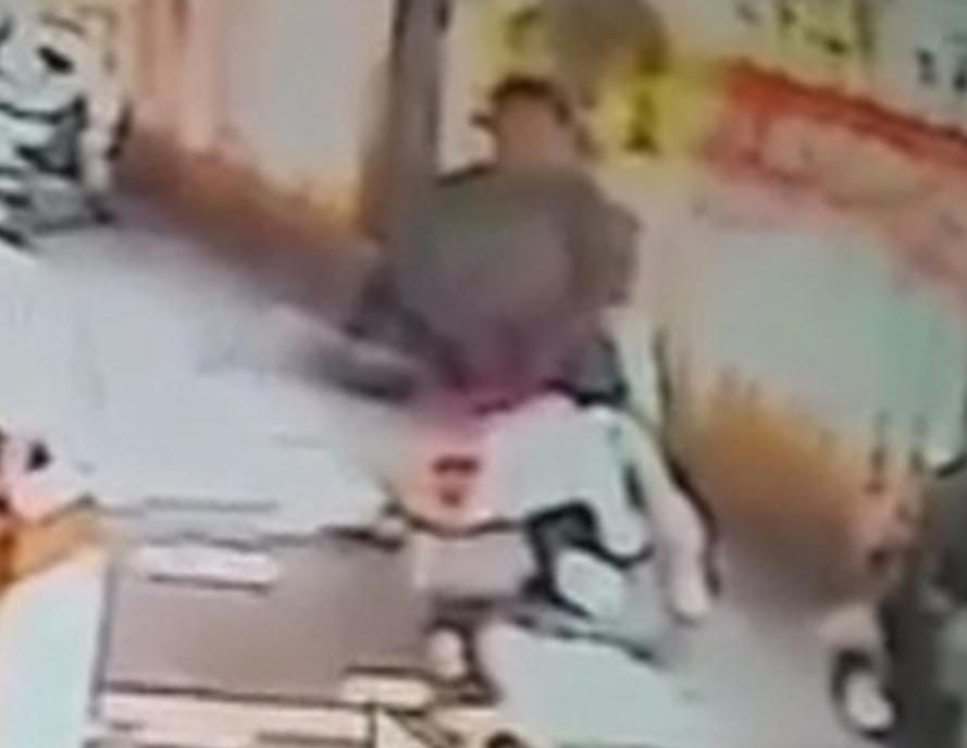 CCTV captures the man humping a motorbike outside student flats in Thailand