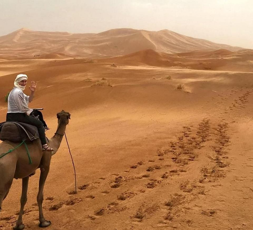 Jo is a terminally ill cancer sufferer who has been told she has just months to live, pictured here in the Sahara desert