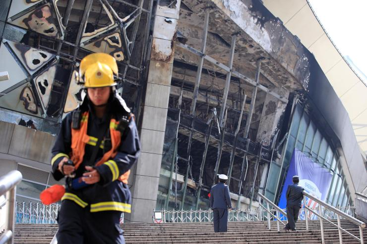 The fire was eventually put out, but there is a fair amount of damage to the Hongkou Stadium