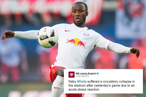 liverpool and arsenal target naby keita collapses after rb leipzig s defeat to wolfsburg