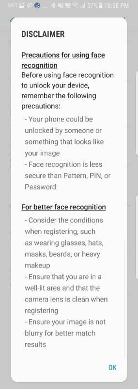 This Samsung disclaimer might put you off using its facial recognition feature