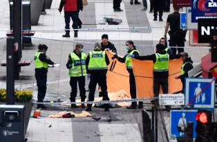 Image result for Police clean up Stockholm attack site