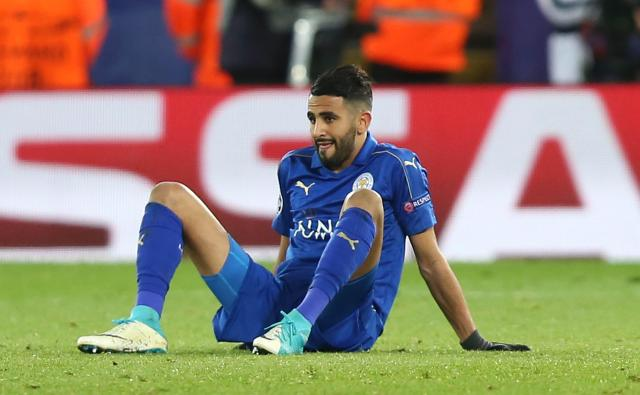 Riyad Mahrez looks shell-shocked after the Foxes were dumped out of the competition