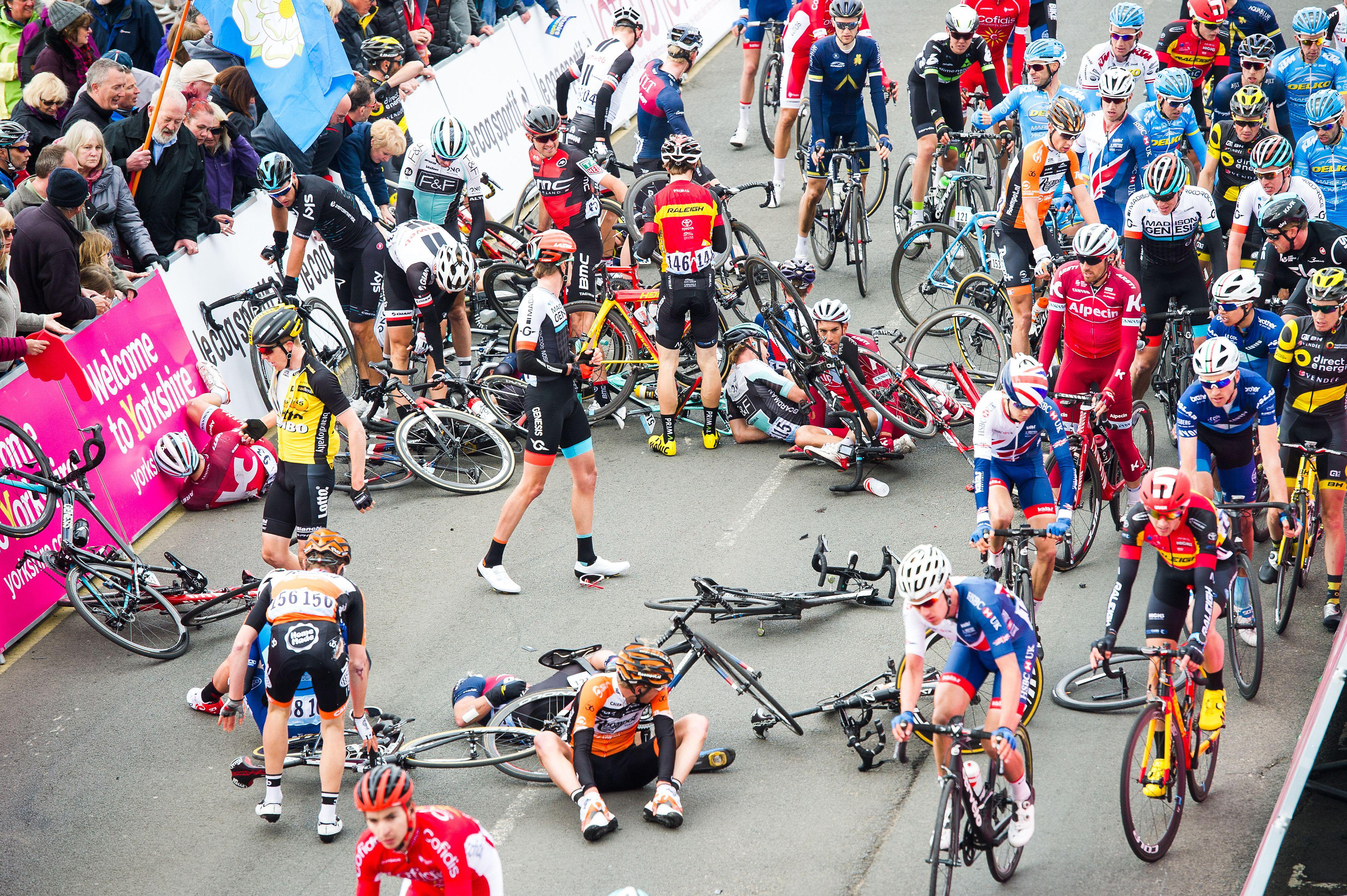 A horrific crash marred the first stage of the Tour de Yorkshire in Scarborough today