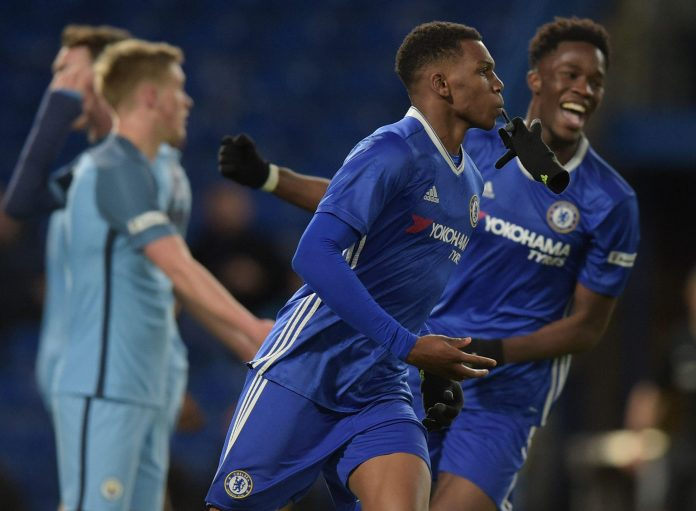 Dujon Sterling celebrates scoring the fourth for Chelsea