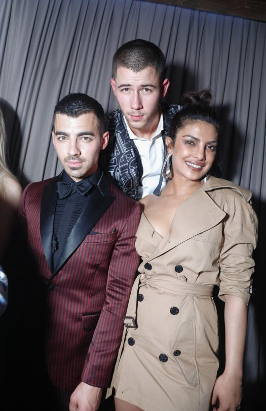 Nick Jonas, pictured here with his brother Joe, continued to fuel rumours he was dating Priyanka Chopra