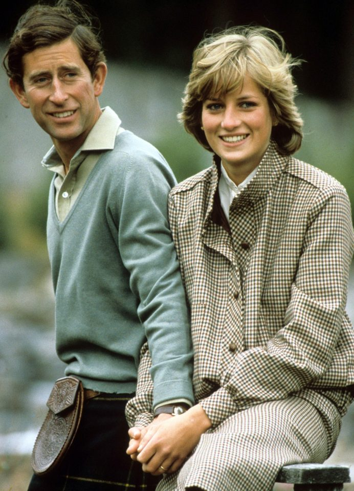 Prince Charles and Princess Diana pictured in the grounds of Balmoral during their honeymoon