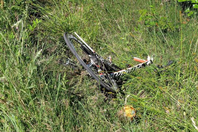 Hayden's bicycle was thrown into a grass verge