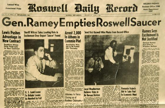 Headlines from the original front page of the Roswell Daily Record, reporting on flying-saucer crash near Roswell