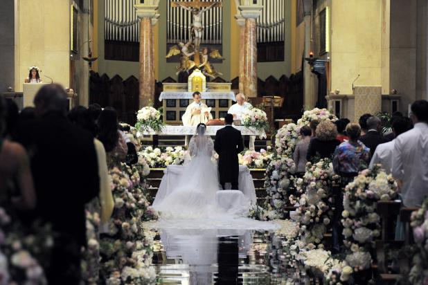 It was very much a floral theme, with hundreds covering the altar in the church