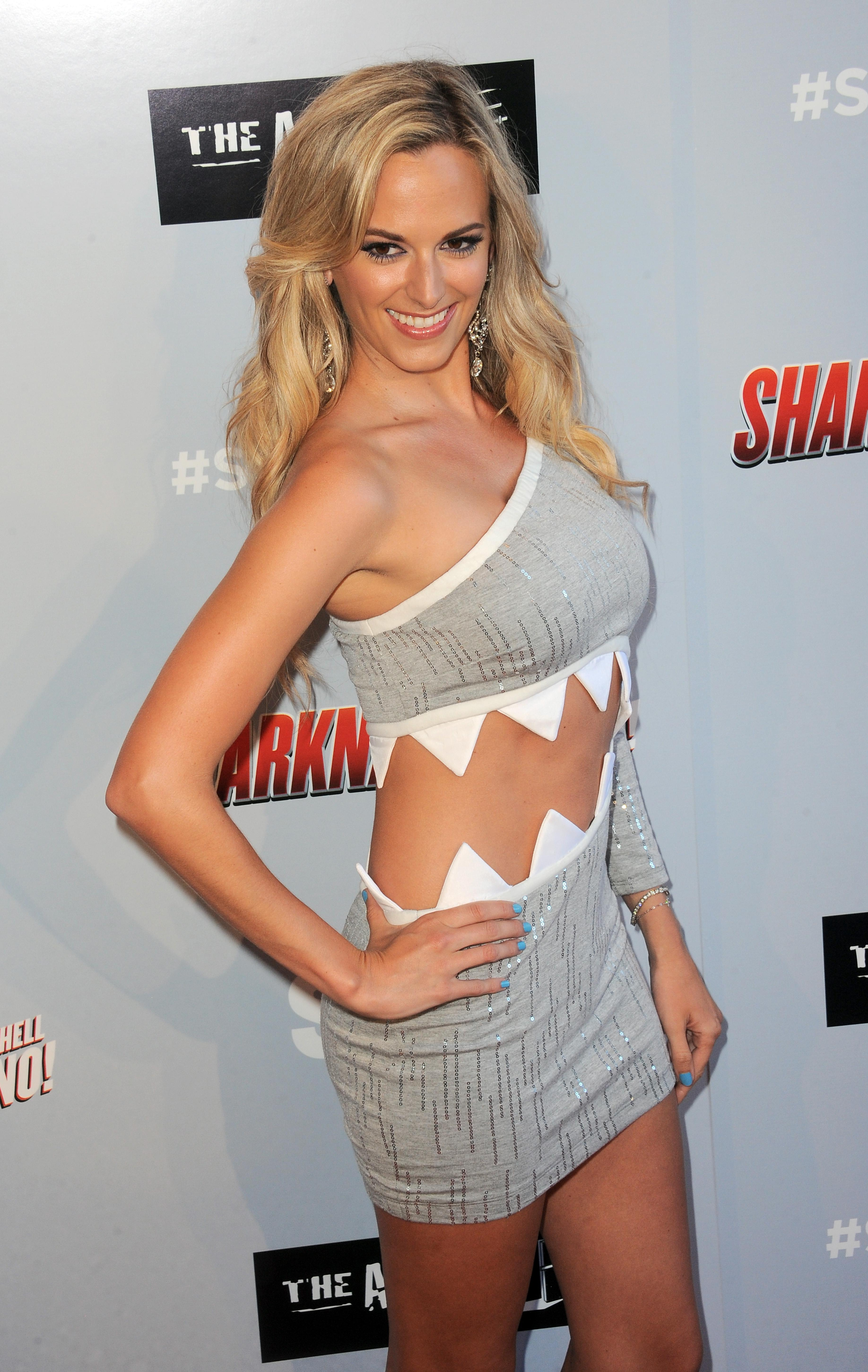 The 28-year-old beauty in a shark dress for the premiere of Sharknado 3: Oh Hell No!