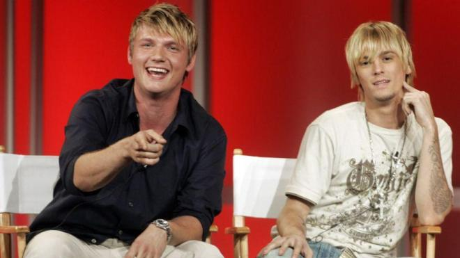 Aaron, right, with brother Nick Carter, left