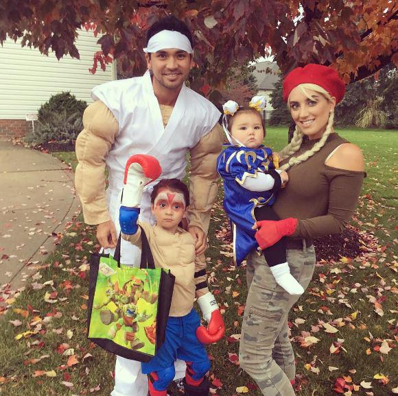 The family pose on Halloween