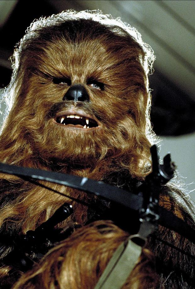 Peter Mayhew as Chewbacca in Star Wars: Episode IV A New Hope in 1977