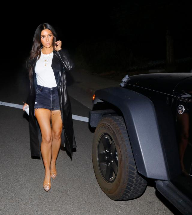 Kim put her toned legs on full display in the outfit