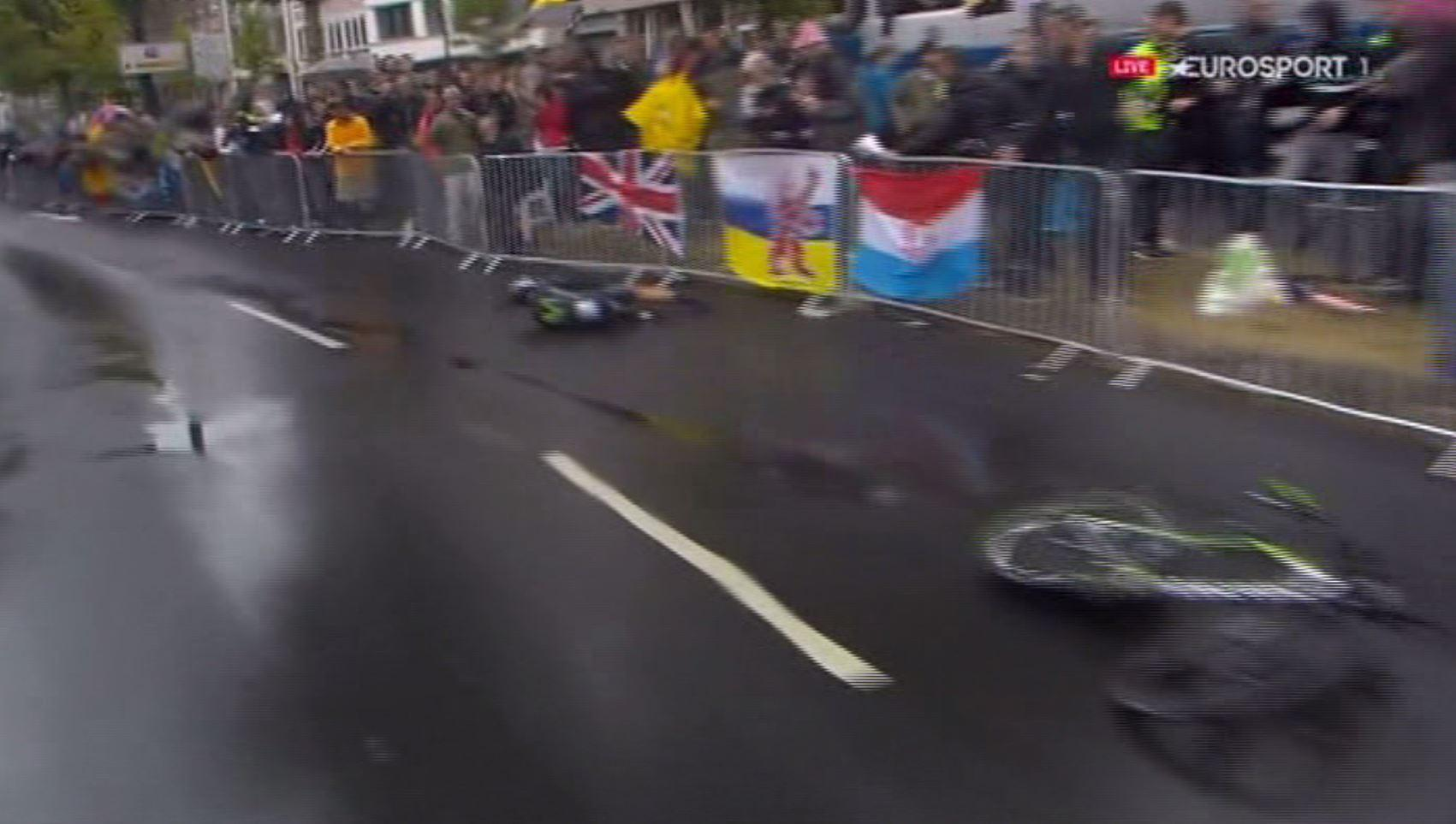 The Movistar rider then slid into a metal barrier