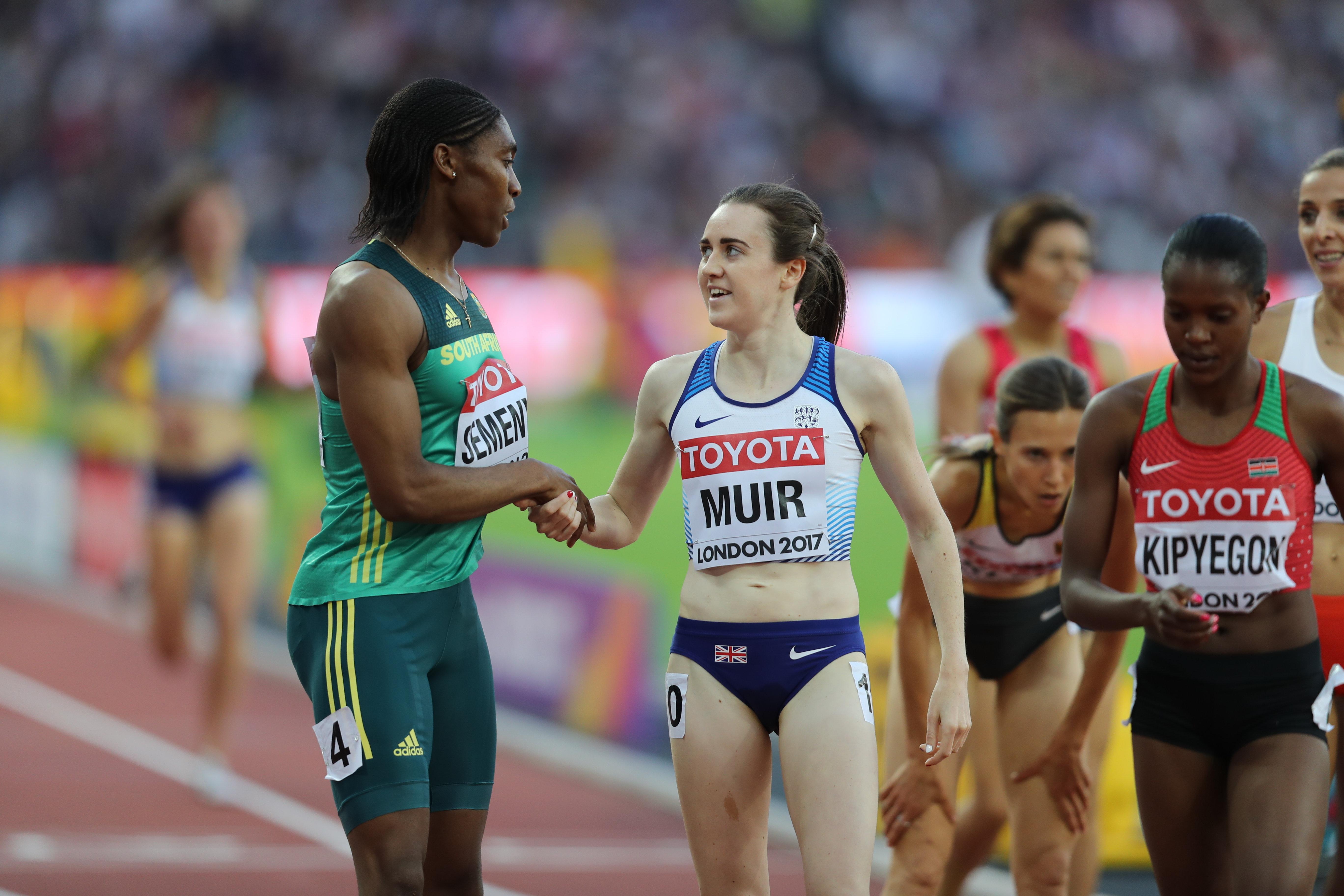 Caster Semenya shake hands with Great Britain's Laura Muir