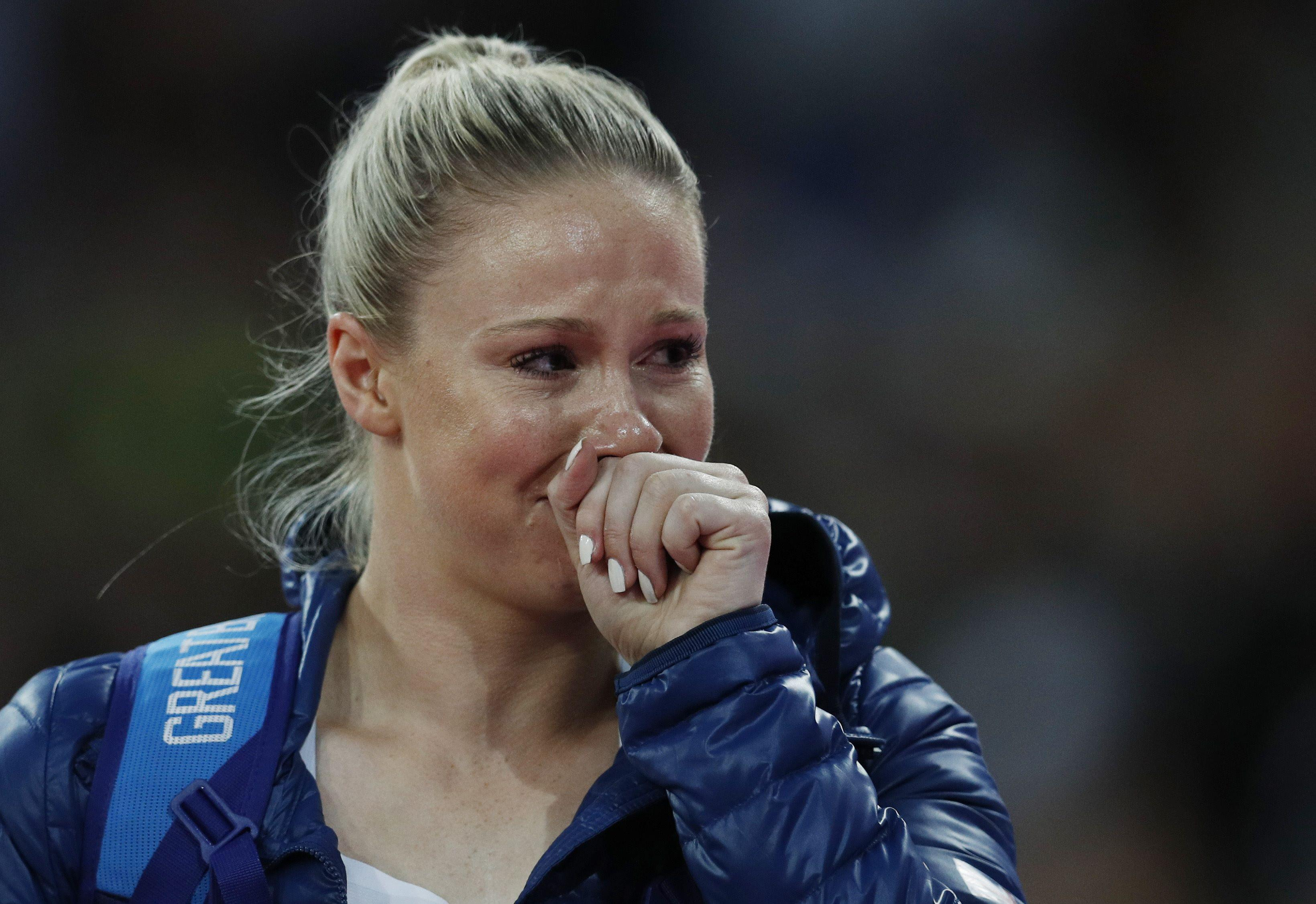 Sophie Hitchon was in floods of tears as she failed to win a World Championships medal