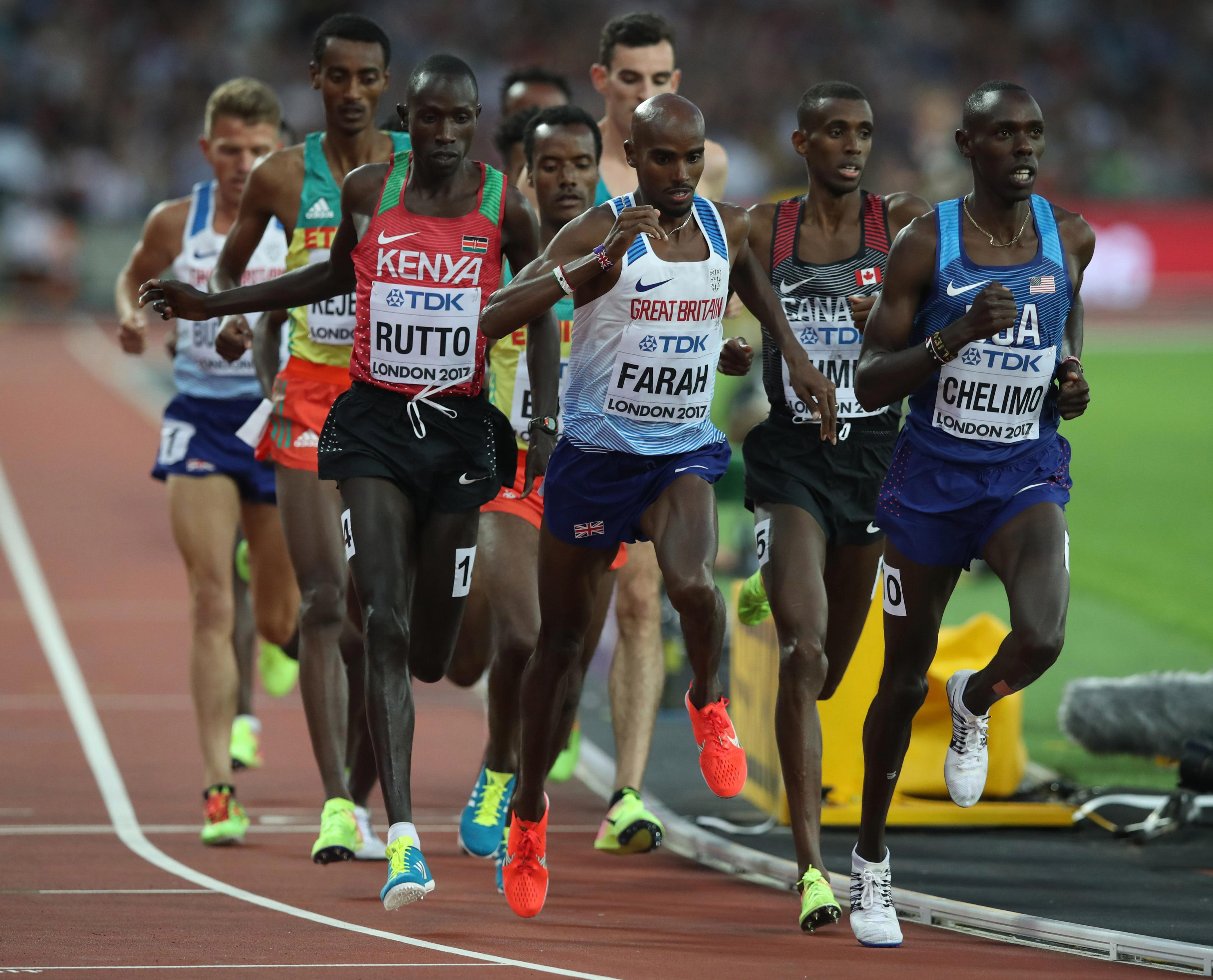 Farah tried tro avoid the jostling by running near the front but he was still forced to regain his balance after a trip from behind