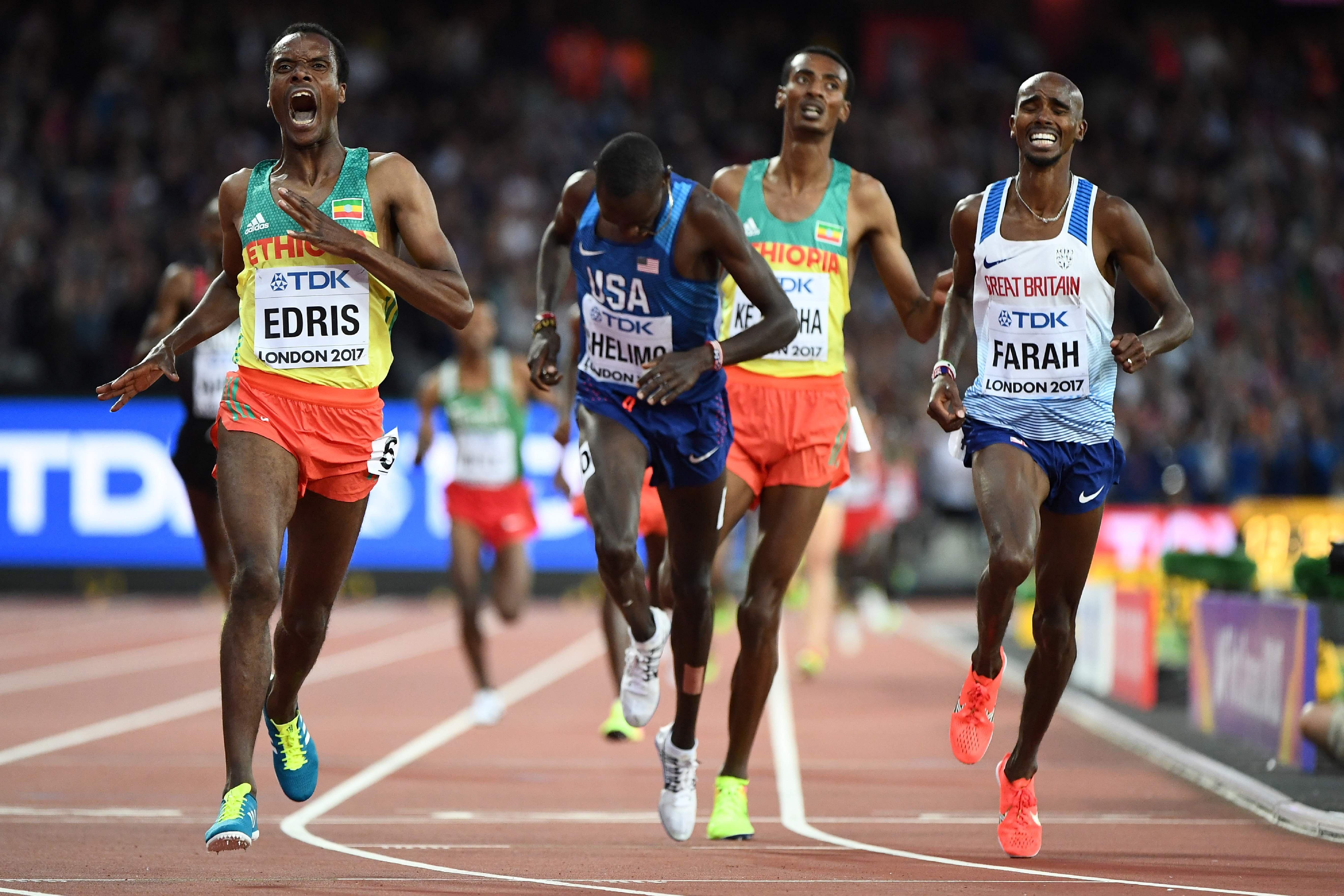 Muktar Edris celebrates as he holds off the late run of Mo Farah to take gold