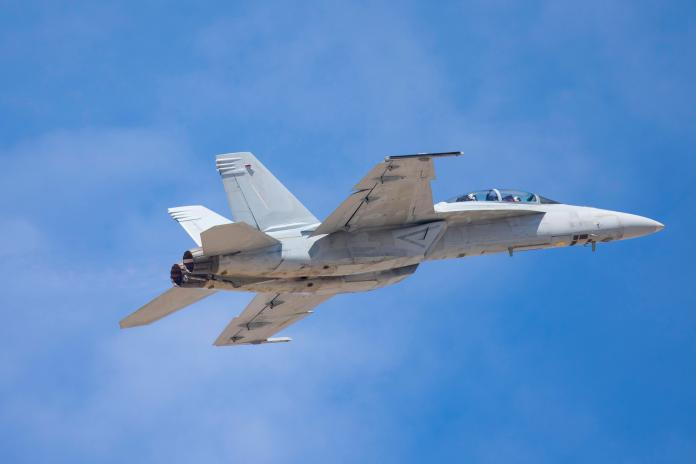 The drone allegedly came within 1,000ft of a US F-18 jet (file image)
