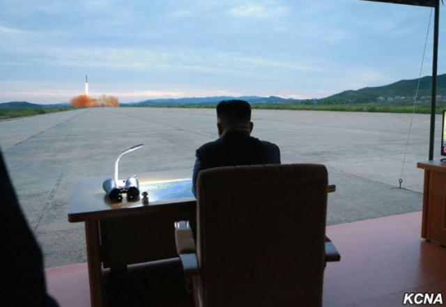 Kim appeared to watch on as the latest rocket was launched