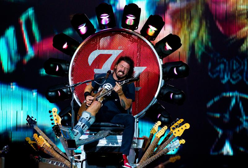 They headlined Glastonbury two years after lead singer, David Grohl, fell 12 feet off the stage and broke his leg