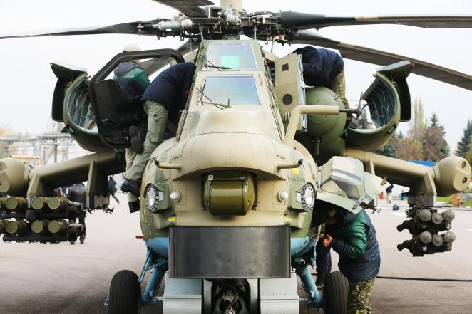 The Mi-28N gunship is armed with a 30mm cannon and guided missiles