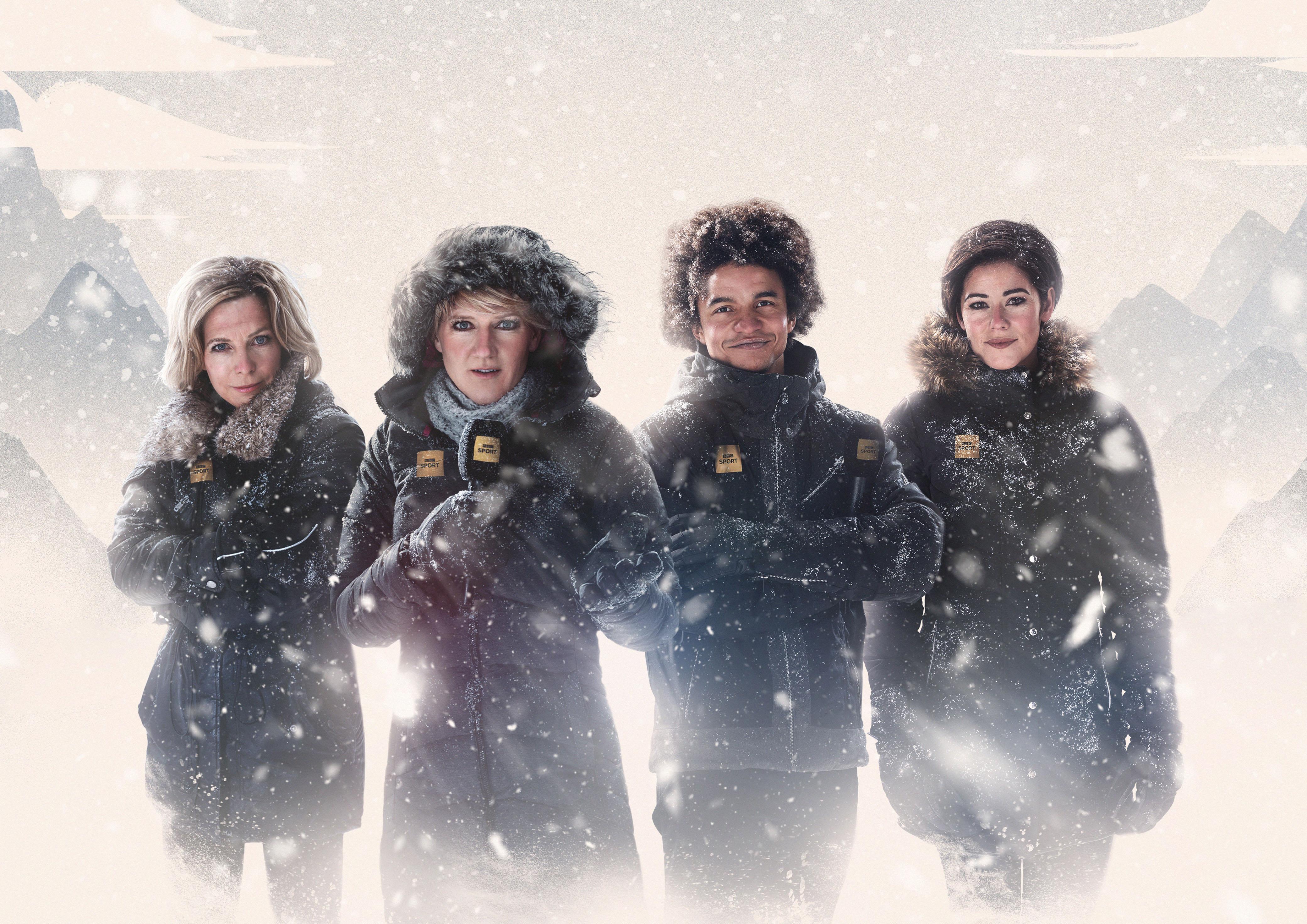 BBC Winter Olympics presenters Hazel Irvine, Clare Balding, Radzi Chinyanganya, Eilidh Barbour