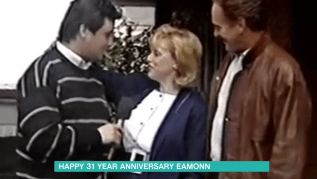 Eamonn wore a dodgy jumper and had thick black hair in footage of his first TV appearance