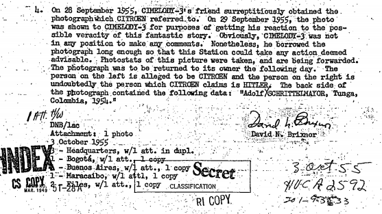 The newly-released documents show that American spooks were serious enough about Hitler's survival that they filed evidence back to the US