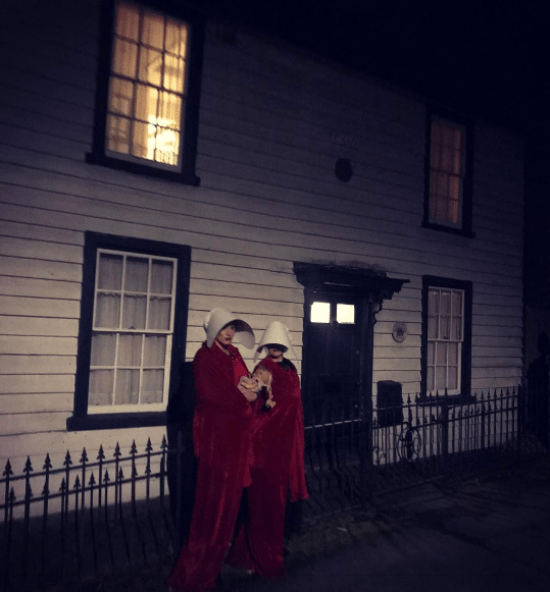 Her pals dressed up as women from The Handmaid's Tale