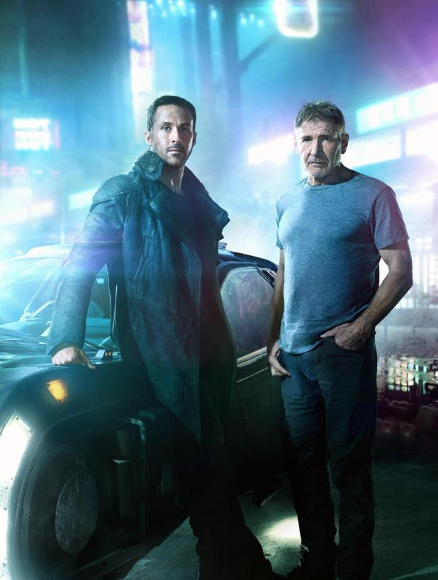 Ryan Gosling with co-star Harrison Ford in Blade Runner 2049