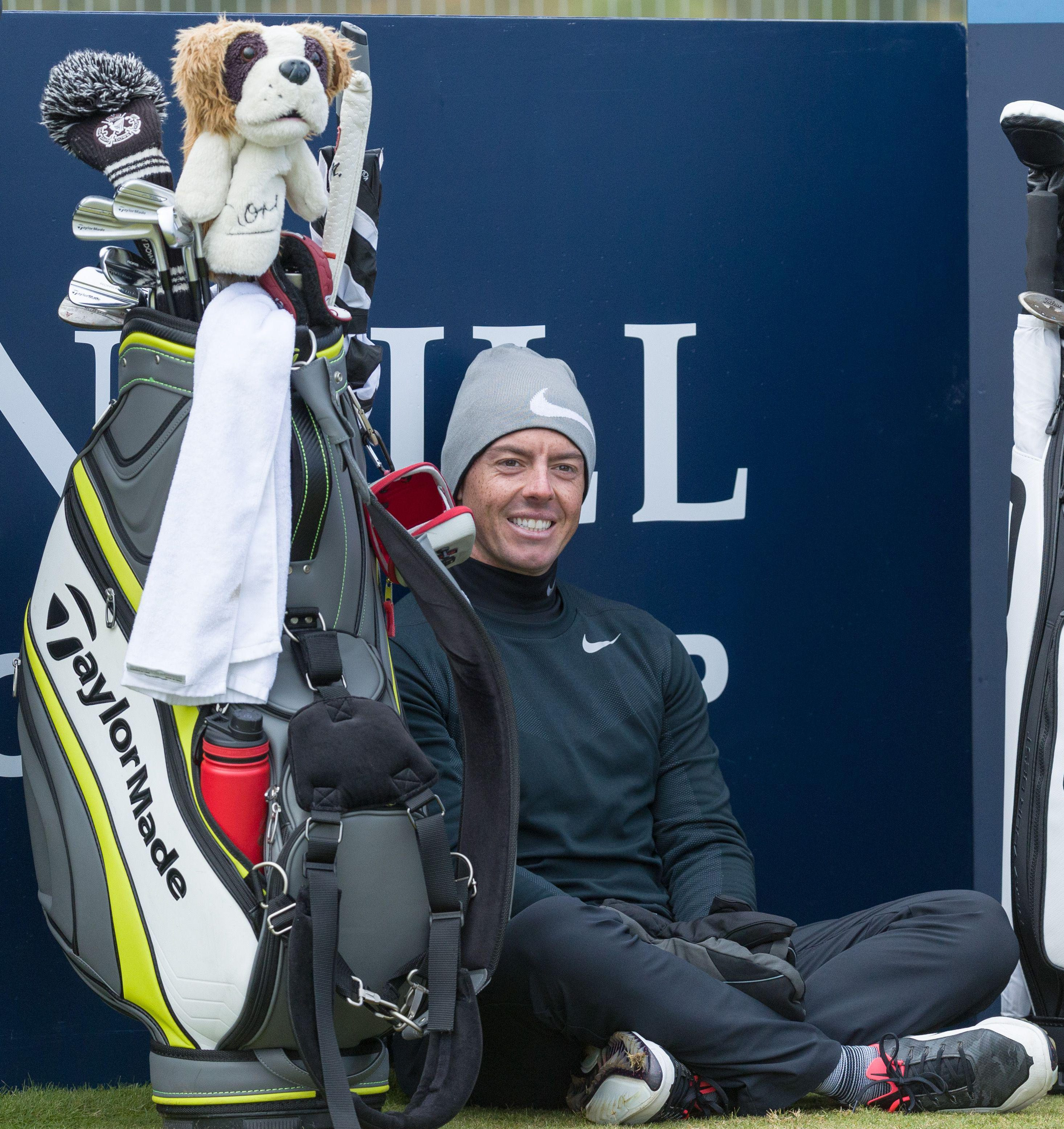 McIlroy takes a break as he waits to play the 17th hole at St. Andrews