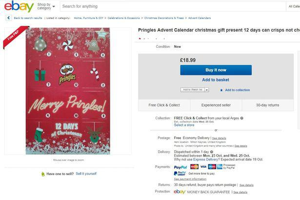 A Pringles advent calendar was selling for £18.99 on eBay - more than double the retail price