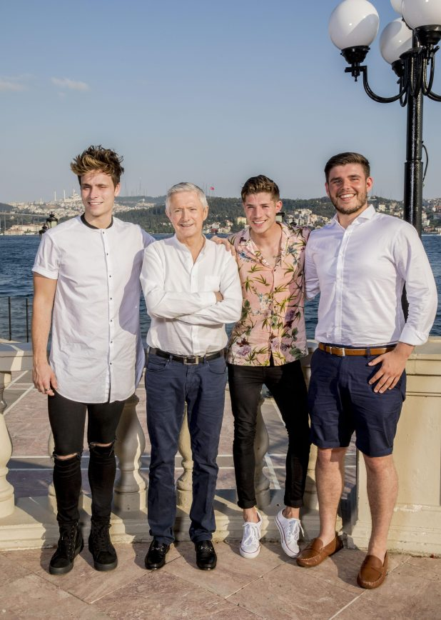 Spencer Sutherland, Louis Walsh, Sam and LLoyd Macey at Judges Houses. Sam got through after Anthony Russel lost his spot after failing a drugs test