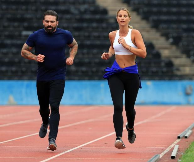 Vogue Williams was put through some gruelling exercises by ex-military man Ant Middleton in London yesterday