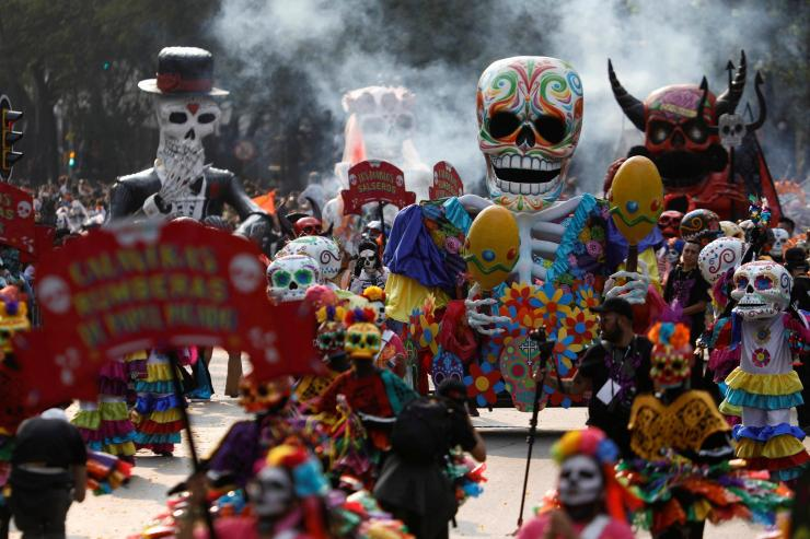 The actual Day of the Dead festival takes places in early November, but the parade makes the beginning of the gearing up for the festivities