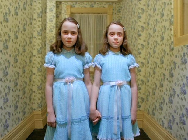 They used The Shining's creepy Grady twins as the inspiration for their outfits