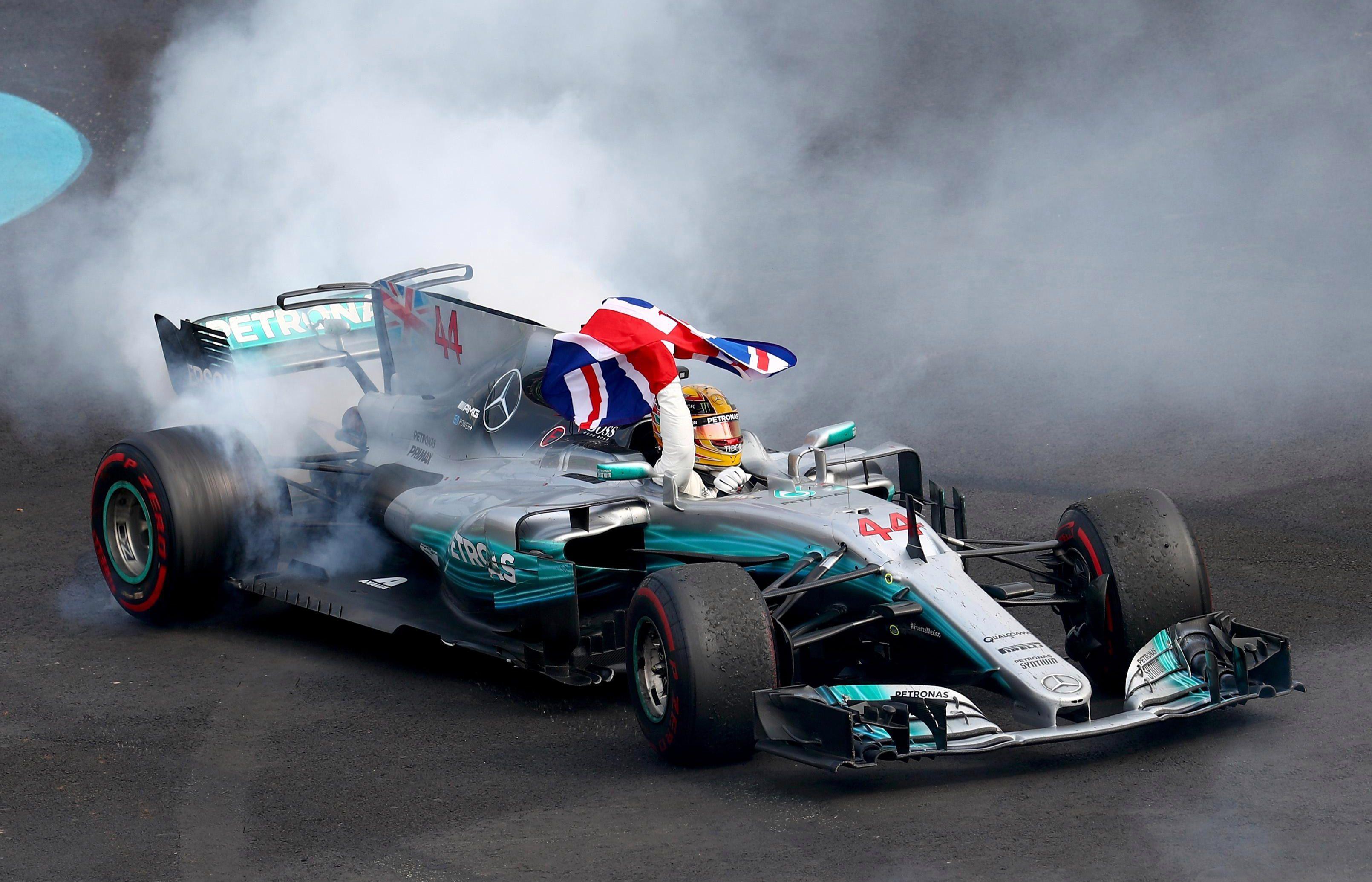 Hamilton did his trademark donuts after sealing victory